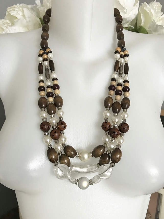 Mixed beads necklace, Wooden and foil glass necklace, Layered necklace