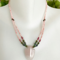 Rose Quartz pendant Necklace, Pink necklace