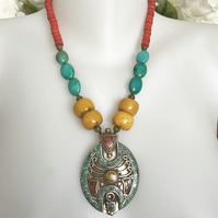 Pendant necklace  Tibetan necklace  Statement Necklace