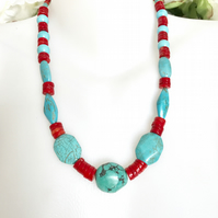 Turquoise Coral necklace, Tibetan necklace, Statement necklace