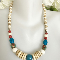 Statement Necklace  Chunky necklace Vintage beads necklace  Mixed stone necklace