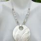 Opalite necklace, Mother of pearl necklace, Mother of pearl pendant