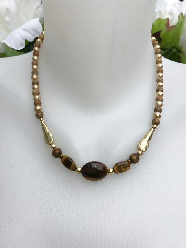 Tiger's eye necklace, gold filled necklace, jasper necklace,