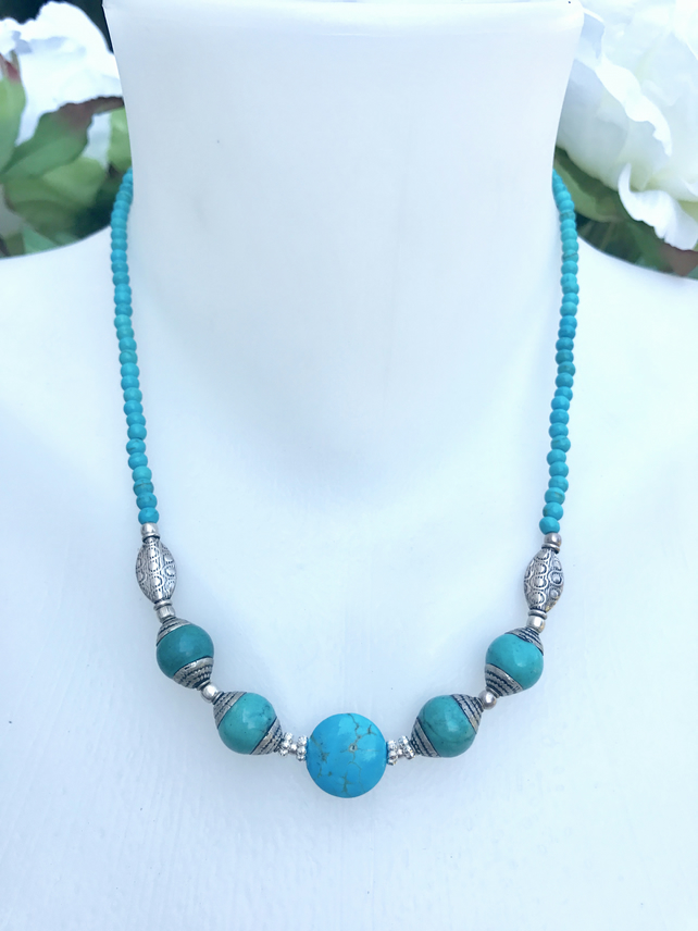 Turquoise necklace, Beaded necklace, Coin turquoise necklace