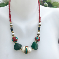 Chunky necklace, Statement necklace, Tibetan  necklace, Tibetan jewellery