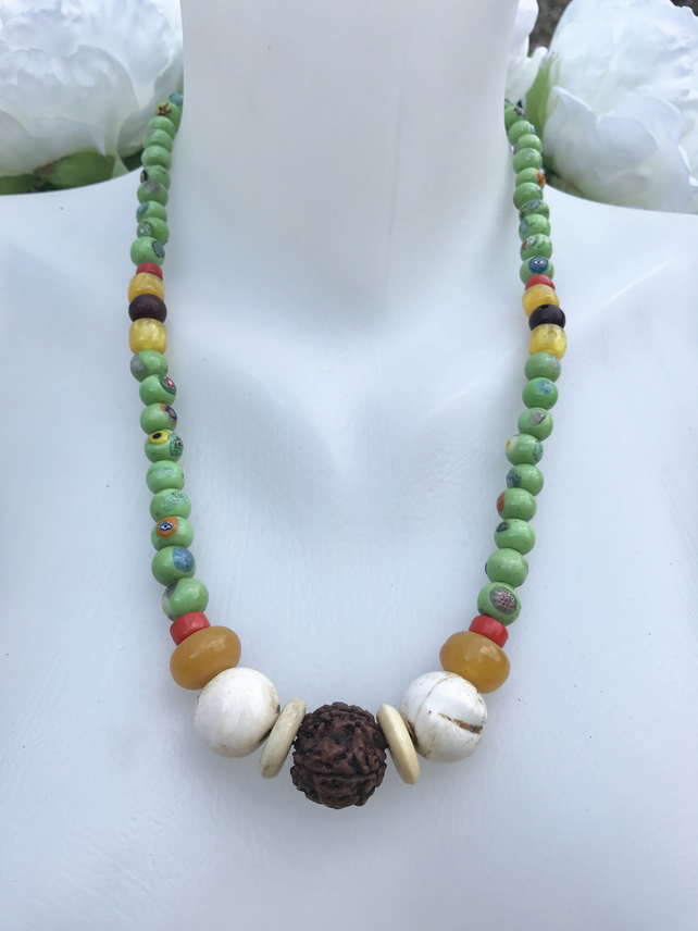 Beaded necklace, Statement necklace,  Ethnic necklace, Chunky Beads necklace,