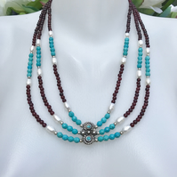 Layered necklace, Turquoise  Neckless,   Statement necklace, Garnet mix necklace