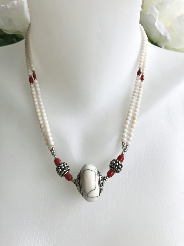 White coral necklace, Ethnic necklace, Layered necklace