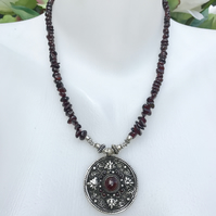 Pendant necklace, Garnet  necklace, Ethnic Necklace