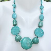 Chunky Turquoise necklace, Coin turquoise necklace, Statement Necklace
