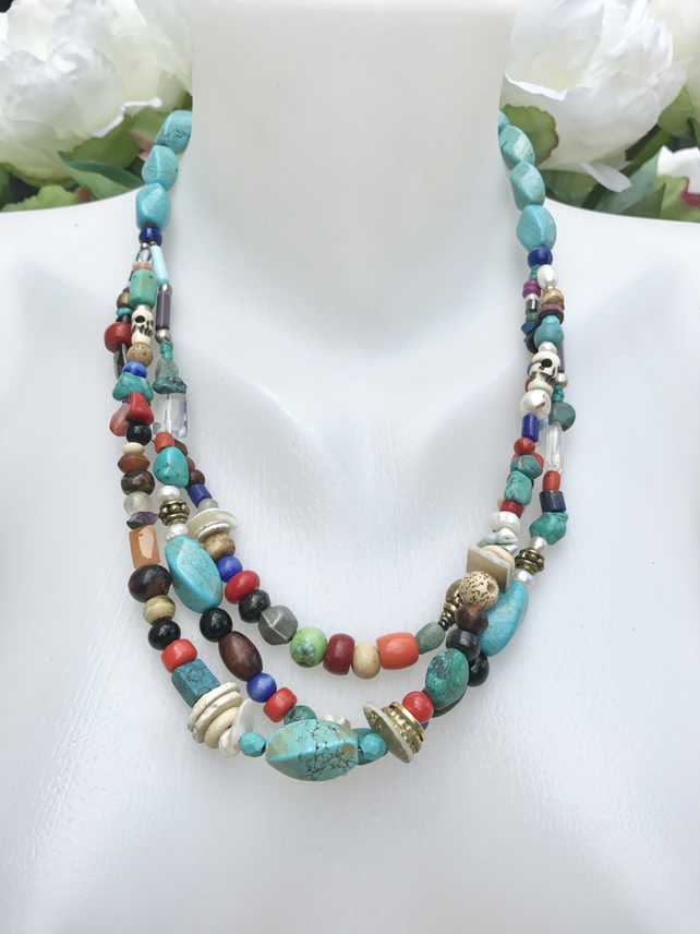 Layered necklace, Turquoise  Neckless,  Vintage beads necklace, Ethnic jewellery