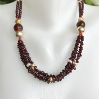 Garnet necklace, Statement garnet necklace,
