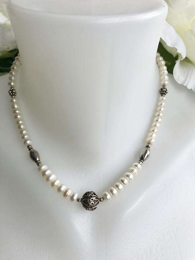 Pearl necklace,  Sterling silver Pearl Necklace