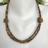 Multi strand necklace, Tiger's eye necklace, Statement Tiger's eye necklace,