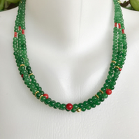 Jade Necklace, Multi-strand Jade necklace, Layered necklace, Green Necklace