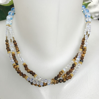 Tiger's eye necklace, Opaline necklace, Tiger's eye opaline necklace