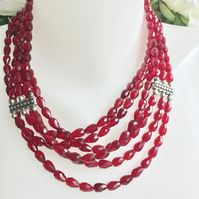 Layered necklace, Red Neckless, Statement necklace