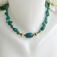 Turquoise necklace, Choker turquoise necklace, Turquoise nuggets