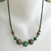 Jade brass necklace, Tibetan necklace, Green necklace, Beaded necklace