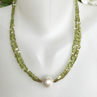 Peridot necklace, Green necklace, Shell pearl necklace,