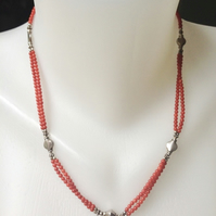 Coral necklace, Tibetan Necklace, Sterling silver Coral necklace,Ethnic necklace