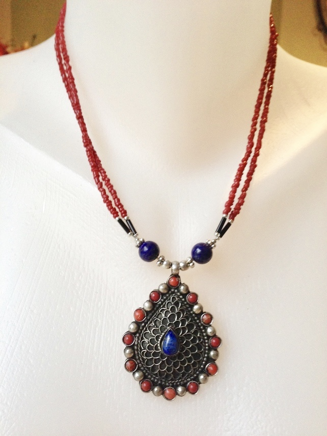 Pendent Necklace, Red necklace, Lapis necklace, Ethnic necklace