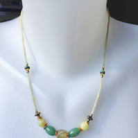 Green gold necklace, Agate jade necklace, Jade necklace, Ethnic necklace