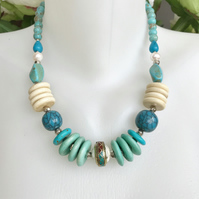 Chunky beads necklace,  Statement necklace, Vintage beads necklace,Blue necklace