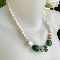 Shell necklace, Pearl necklace, Statement necklace, Turquoise necklace
