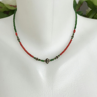 Sterling silver coral necklace, Beaded necklace, Tiny beads necklace