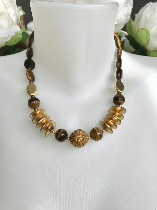 Tiger's eye necklace, gold filled necklace, Statement necklace, Gift for her
