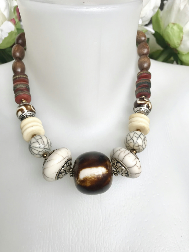 Chunky beads necklace,  Statement necklace, Vintage necklace,Ethnic necklace