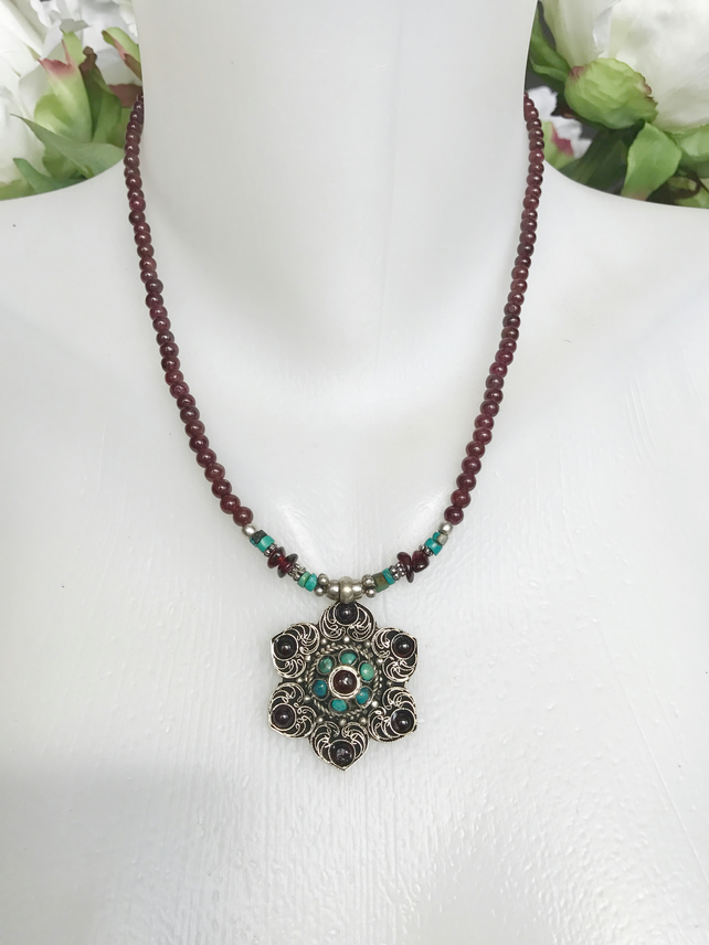 Pendant necklace, Garnet necklace, Ethnic Necklace, Gift for her, Gift for mum