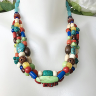 Mix beads neckless, Vintage beads, Himalayan beads necklace, Layered necklace