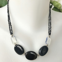 Onyx necklace, Hematite necklace, Black necklace, Onyx opal necklace