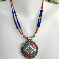 Pendant necklace,Tibetan necklace,Statement Necklace, Beaded necklace,Lapis