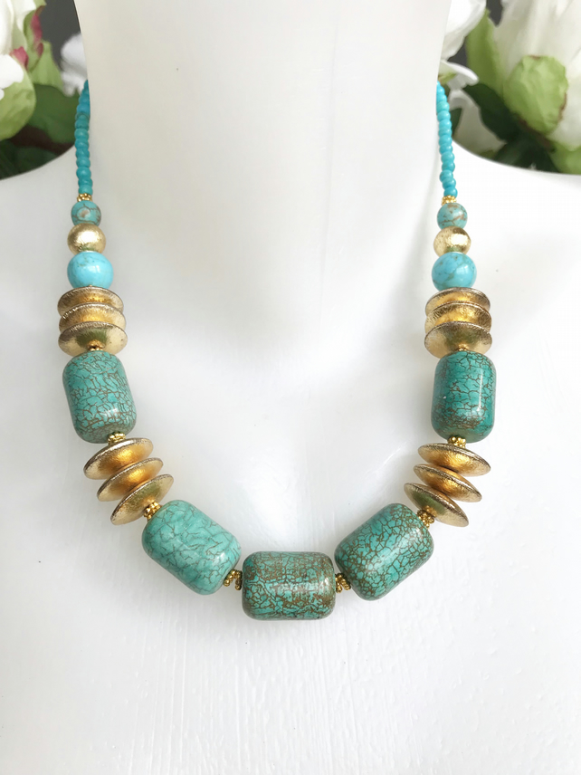 Turquoise Necklace, Gold filled necklace, Blue necklace, Statement necklace
