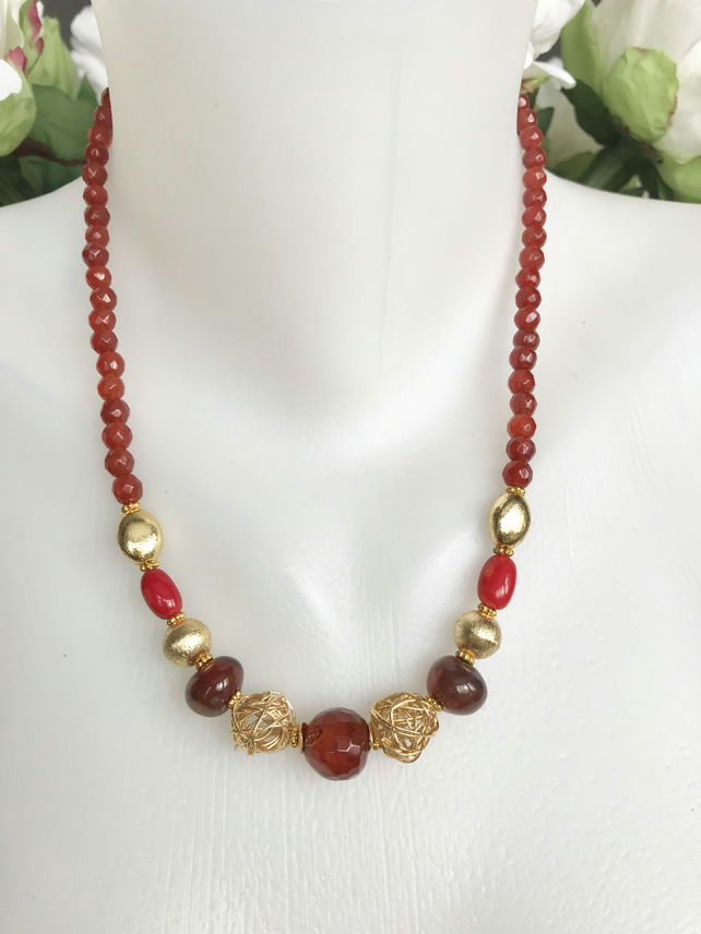 Carnelian Necklace,  Gold filled necklace,  Gemstone necklace, Red gold necklace