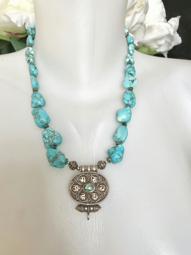 Turquoise Necklace, Sterling silver Pendant necklace, Statement necklace