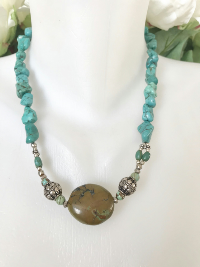 Turquoise Necklace,  Tibetan stone necklace, Ethnic jewellery,