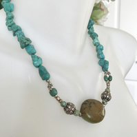 Turquoise Necklace,  Tibetan turquoise necklace, Ethnic jewellery,Gemstone