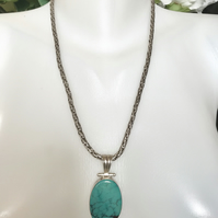 Tibetan turquoise, Sterling silver Pendant Necklace, Turquoise Pendant,