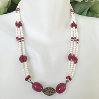 Ruby necklace,  Statement necklace,  White coral beads necklace