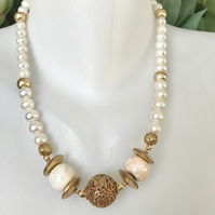 Tibetan necklace, Pearl necklace, Statement necklace, Gold filled necklace