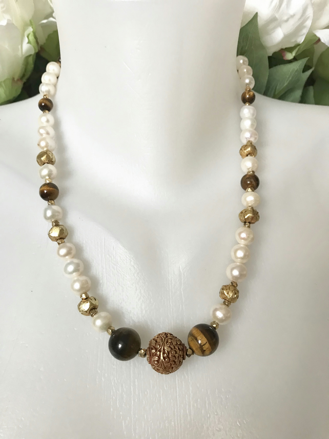 Gilded gold necklace, Gold fill necklace, Pearl necklace, Chunky necklace