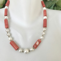 Vintage bamboo coral necklace, Statement necklace, Tibetan necklace,Shell pearl
