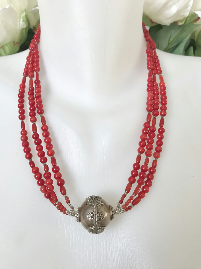 Tibetan necklace,Tibetan jewellery, Coral necklace, Statement necklace