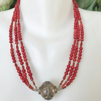 Tibetan necklace,Vintage Coral necklace, Statement necklace, Layered necklace