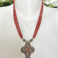 Coral necklace,Tibetan Necklace,Sterling silver pendant,Ethnic jewellery
