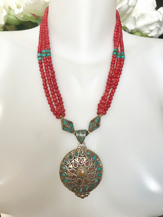 Statement necklace,Pendant necklace ,Tibetan necklace,Coral Necklace,